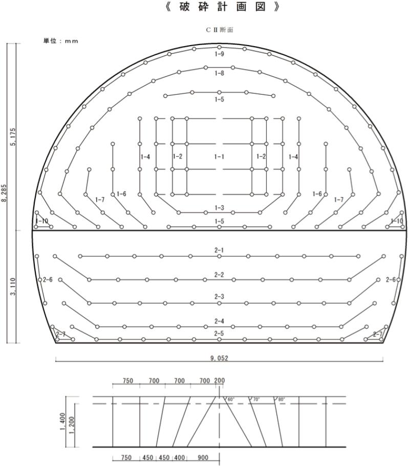 トンネル破砕 破砕計画図